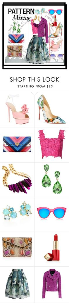 """""""Pattern Mixing"""" by elahe-toutaiolepo on Polyvore featuring Charlotte Olympia, Christian Louboutin, Monique Lhuillier, Ippolita, Le Specs, Henri Bendel, Estée Lauder, Chicwish, Barbara Bui and Garrett Leight"""