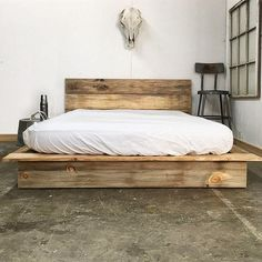 Rustic Modern Platform Bed Frame and Headboard Loft Style Solid Wood... (825 NZD) ❤ liked on Polyvore featuring home, furniture, beds, bedroom furniture, beds & headboards, grey, home & living, platform bed, wood bed and wooden bed