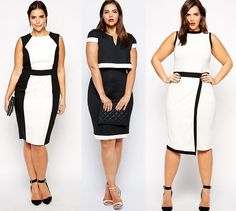 Black and White Plus Size Dresses for Women