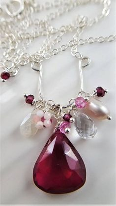 Red Quartz Cluster Necklace Multi Gemstone Necklace Red