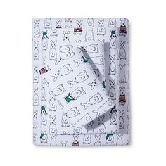 Holiday Winter Rabbit Flannel Sheet Set - White (75 SEK) ❤ liked on Polyvore featuring home, bed & bath, bedding, bed sheets, white, flannel bedding, rabbit bedding, king size bed sheet set, king bedding and white bed linens