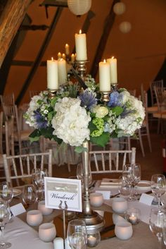 The Candelabras were dressed with fresh Hydrangeas, Sweet William, Roses, Delphiniums, Eryngium and Peonies
