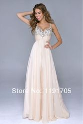 Online Shop Yes Sweetheart Chiffon Beading Prom Dresses 2014 Empire Spaghetti Light Pink New Party Gowns Floor Length Off The Shoulder|Aliexpress Mobile