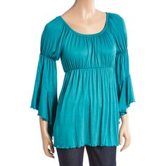 GLAM Emerald Peasant Top ($22) ❤ liked on Polyvore featuring tops, empire waist tops, scoopneck top, peasant tops, long peasant tops and long tops