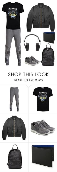 """""""where are you going?"""" by msslow ❤ liked on Polyvore featuring Emporio Armani, Kenzo, Balenciaga, New Balance, Valentino, Bugatchi, Master & Dynamic, men's fashion and menswear"""