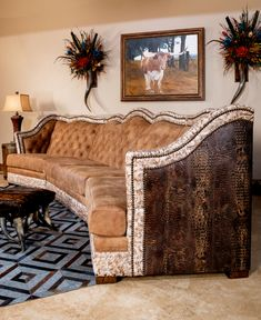 The Montana Suela Sectional is in a league of its own! This sectional sofa will be a stunning focal point in any grand living room! Features a supple, hand distressed tan Leather, with a stunning stamped croc leather design on the outback out out arms. Cowhide Furniture, Western Furniture, Furniture Decor, Living Room Furniture, Cowhide Decor, Southern Furniture, Furniture Shopping, Home Living Room, Living Room Designs