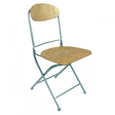 Lot de 2 chaises pliantes métal et bois Knave