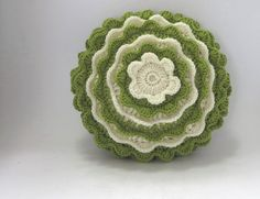 Lime blooming flower crochet cushion