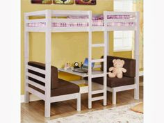 This Coaster Furniture Bunks Collection Twin over Twin Convertible Loft Bed with Futon Bunk Bed - White is a welcome addition to any kids' bedroom. Loft Bunk Beds, Bunk Bed With Desk, Bunk Beds With Stairs, Kids Bunk Beds, Diy Bunkbeds, Coaster Furniture, Kids Furniture, Bedroom Furniture, Office Furniture