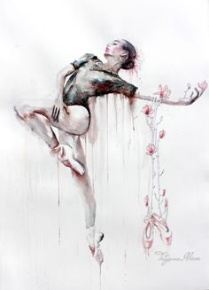 Original Watercolor Painting. Wall art, dancing women. Lîlîṯ. Lilith