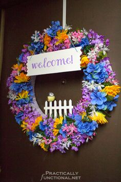 Make your own spring welcome wreath with a foam wreath form and dollar store flowers!