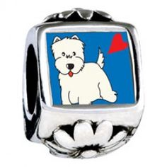 Westie Dog Photo Flower Charms  Fit pandora,trollbeads,chamilia,biagi,soufeel and any customized bracelet/necklaces. #Jewelry #Fashion #Silver# handcraft #DIY #Accessory