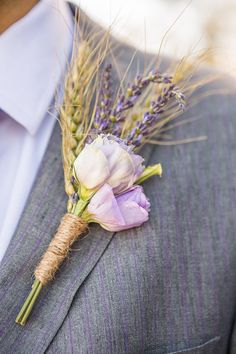 Rustic lavender and wheat boutonniere