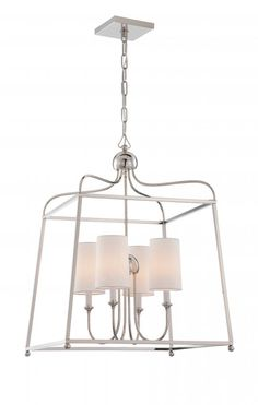Sylvan 4 Light White Linen Polished Nickel Chandelier part of the new Libby Langdon Lighting for Crystorama. http://lightingspecialists.com