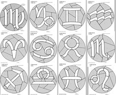 Stained Glass Pattern Club~ 12 Signs of the Zodiac Stained Glass Pattern Set
