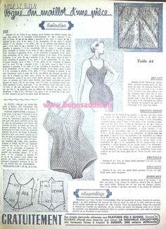 - Free Knitting pattern for bathing suit Vintage Knitting, Vintage Sewing Patterns, Knitting Patterns Free, Free Knitting, Crochet Patterns, Tunic Pattern, Retro Illustration, Pattern Drawing, Vintage Lingerie