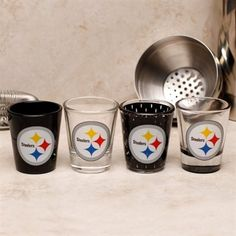 Pittsburgh Steelers Logo 4-Pack Shot Glass Set