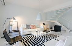 Minimalist Interior Design from Scandinavia. Modern black and white striped rug and cool pastel tones. Home Living Room, Living Room Decor, Living Spaces, Living Area, Ikea Stockholm Rug, Deco Pastel, Nordic Interior Design, Design Interiors, Black And White Living Room