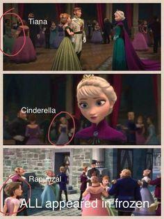 """No filme """"Frozen"""", 3 princesas da Walt Disney Estúdios aparecem. Cinderela, Rapunzel (Do filme """"Enrolados"""") & Tiana (Do filme """"A Proceda e o Sapo"""")"""