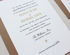 Vermont Classic Wedding Invitation //SAMPLE// by papela on Etsy, $4.00