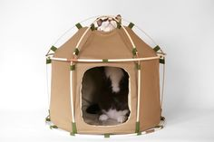 conceived not only for cats, but also to accommodate dogs, the tent-like shelter offers your furry friends a place of rest and retreat, while also looking good in your domestic interior.