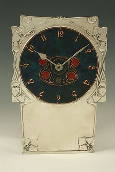 Liberty Co.  Pewter Enamel Clock - Archibald Knox - Arts Crafts
