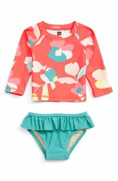 Tea Collection Passionfruit Two-Piece Rashguard Swimsuit (Baby Girls)