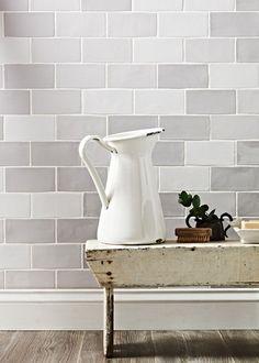 light grey metro tile kitchen - Google Search