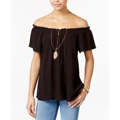 Self Esteem Juniors' Off-The-Shoulder Peasant Top with Necklace ($17) ❤ liked on Polyvore featuring tops, blouses, black, off shoulder tops, off shoulder peasant blouse, peasant tops, off the shoulder tops and off shoulder blouse