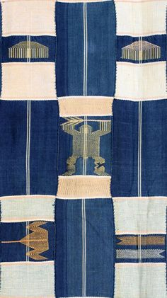 Africa   Detail from a Kente cloth from the Ewe people of Ghana   Cotton; Strip woven in blue, pale pink, yellow and grey, with supplementary motifs including scissors, hearts, fish, combs, crocodiles and hands