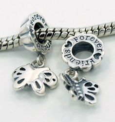 ".925 Sterling Silver "" 1 PAIR of Friends Forever "" Charms Bead Compatible with Pandora Chamilia Kay Troll Bracelet $24.95 #bestseller"