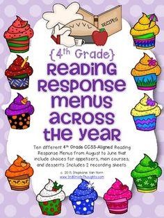 Reading Response Menus Across the Year {4th Grade CCSS-Aligned}