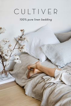 Made from linen woven from European flax and pre-washed for softness and durability, our range of bedding includes 18 colors that mix and match effortlessly. Linen Bedroom, Home Bedroom, Linen Bedding, Bedroom Decor, Linen Sheets, Bed Linen, Bedrooms, Sustainable Furniture, Cute Room Decor