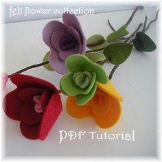 Felt Flower Tutorial Wool Felt Flower by feltflowercollection