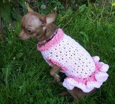 Free Pattern Crochet Dog Jacket : Ruffled Dog Sweater Dress (7) Crocheting Pinterest ...