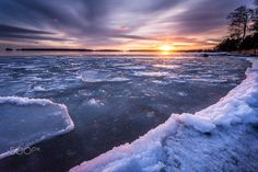Icy sunset by Christophe Brutel (Baltic coast of Finland)