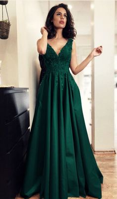 Customized Magnificent V-Neck Evening Dress Elegant Long Satin A-line V-neck Prom Dress Lace Appliques Evening Gowns Elegant Bridesmaid Dresses, V Neck Prom Dresses, Grad Dresses, Formal Dresses, Party Dresses, Formal Prom, Dresses Dresses, Dress Prom, Formal Wedding