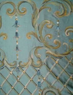Chinoiserie trellis...I see an embroidery pattern...the colours...