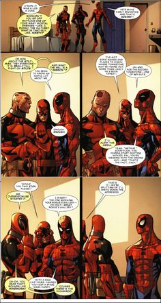 Deadpool and Spidey bro-ing it up while Daredevil realizes it would be easier to deal with 5-year-olds.