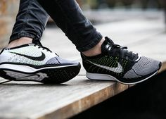 Nike Flyknit Racer - Black/White/Volt (by worldbox) Available here: Nike.com / Sneakersnstuff / Overkill / End Clothing / Find more shops selling these