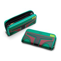 This zip-around wallet features Boba Fett's details on what looks remarkably like patent leather but is actually PVC. It's got a coin pouch, eight card slots, and 2 bill compartments alongside two slightly smaller compartments.