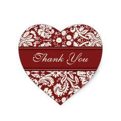 Red Damask Thank You Wedding Envelope Seals