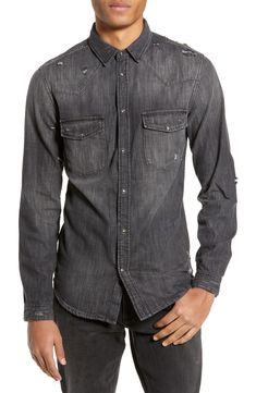 The Kooples Graues Denim-hemd Mit Destroyed-details In Schwarz Grey Denim Shirt, Black Button Up Shirt, Black Denim, Denim Button Up, Button Up Shirts, Paisley, Grunge, Boy Fashion, Mens Fashion