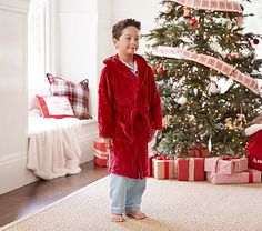 Solid Plush Robe, Small, Red