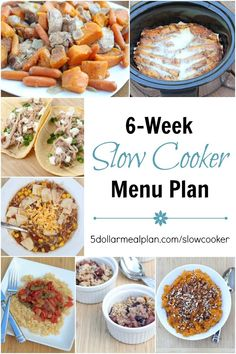 6-Week Slow Cooker Menu Plan with FIVE dinner recipes and a dessert or side dish recipe each week for six weeks! | 5DollarDinners.com