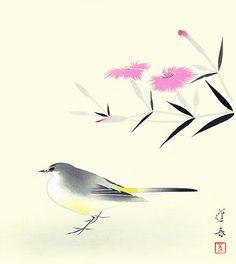 Fringed pink flower and gray wagtail bird by Japanese nihonga style woodblock print artist Hoshun Yamaguchi