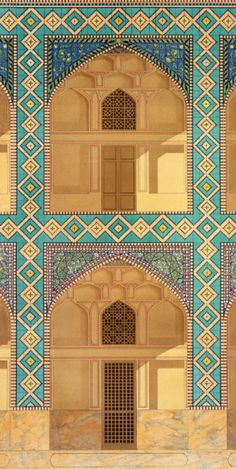Detail of the Courtyard Arcades in the Medrese-i-Shah-Hussein, Isfahan, plate 26-27 from 'Modern Monuments of Persia', engraved by A. Levie, 1856, after Pascal Xavier Coste