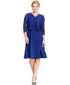 Jessica Howard Petite Sequined Lace Dress and Jacket - Petite Dresses - Women - Macy's