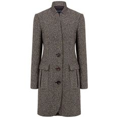 Pink Tartan - Donegal car coat found on Polyvore featuring outerwear, coats, pink tartan, tweed coat, car coat, car-coat and lapel coat