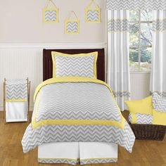 Yellow and Gray Zig Zag Childrens and Kids Bedding - 4pc Twin Set by JoJO Designs only $99.99
